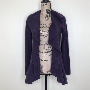PLY CASHMERE Purple Cashmere Ruffle Cardigan (S)